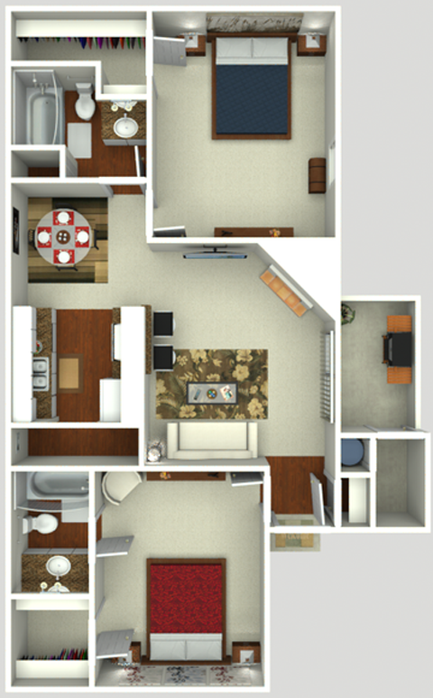 2 Bedroom 2 Bath  884 sq ft