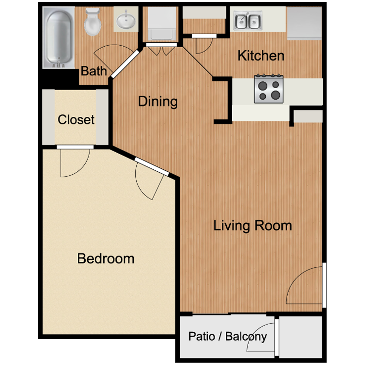 A1 One Bedroom and One Bath 600 Sq Ft