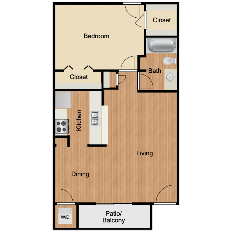 A2 One Bedroom and One Bath 650 Sq Ft