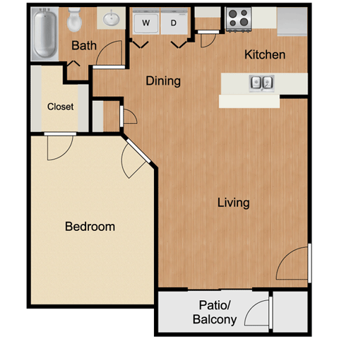 A3 One Bedroom One Bath 650 Sq Ft