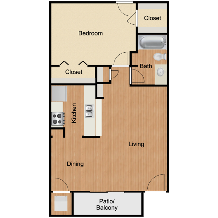 A4 One Bedroom and One Bath 700 Sq Ft