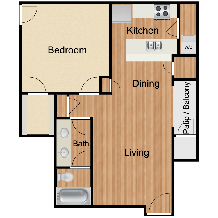 A5 One Bedroom One Bath 750 Sq Ft