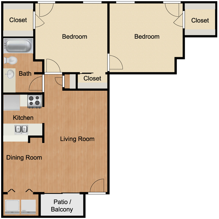 B2 Two Bedroom and One Bath 800 Sq Ft