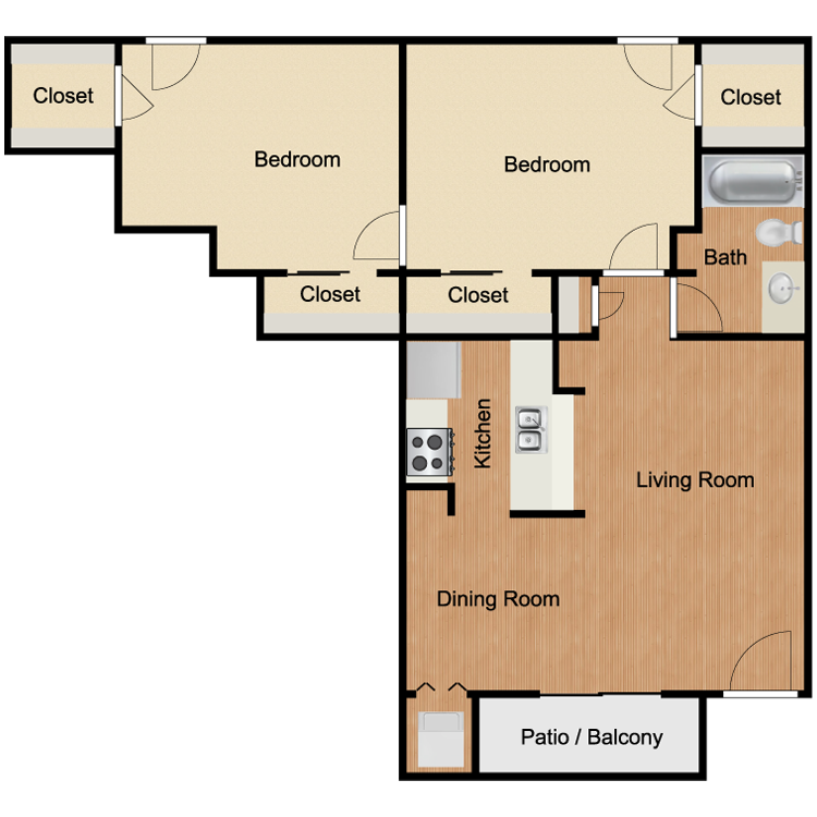 B3 Two Bedroom and One Bath 900 Sq Ft