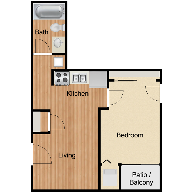 B4 Two Bedroom and One Bath 940 Sq Ft