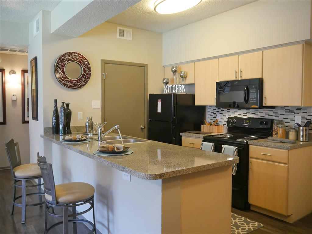 Fully equipped kitchen at Veridian Place,4849 Haverwood Lane, TX