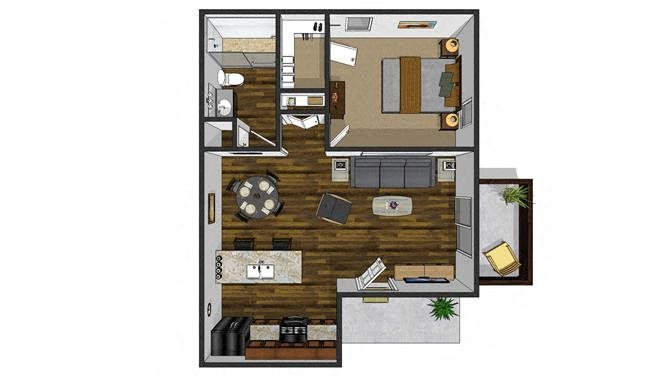 1 bedroom + 1 bath Floor Plan 1