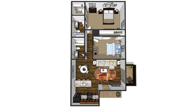 2 bedroom + 2 bath Floor Plan 2