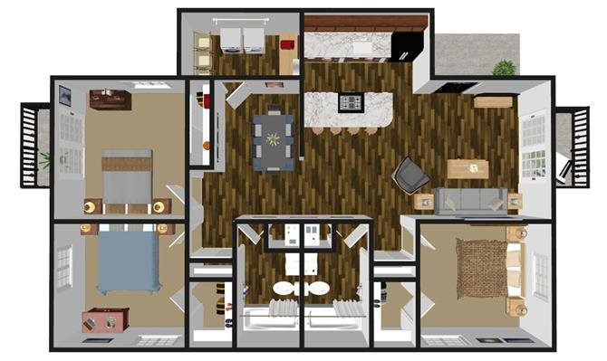 3 bed + 2 bath Floor Plan 3
