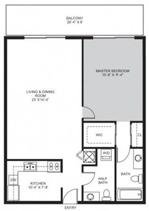 1 Bedroom / 1.5 Bath