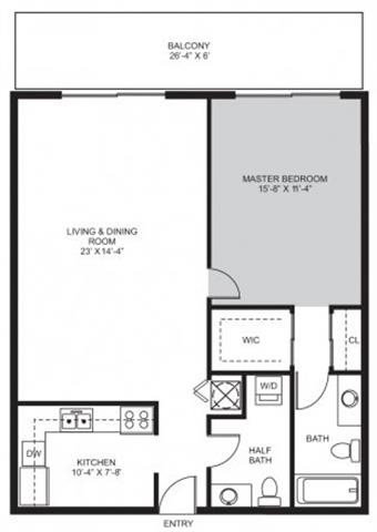 1 Bedroom / 1.5 Bath Floor Plan 2