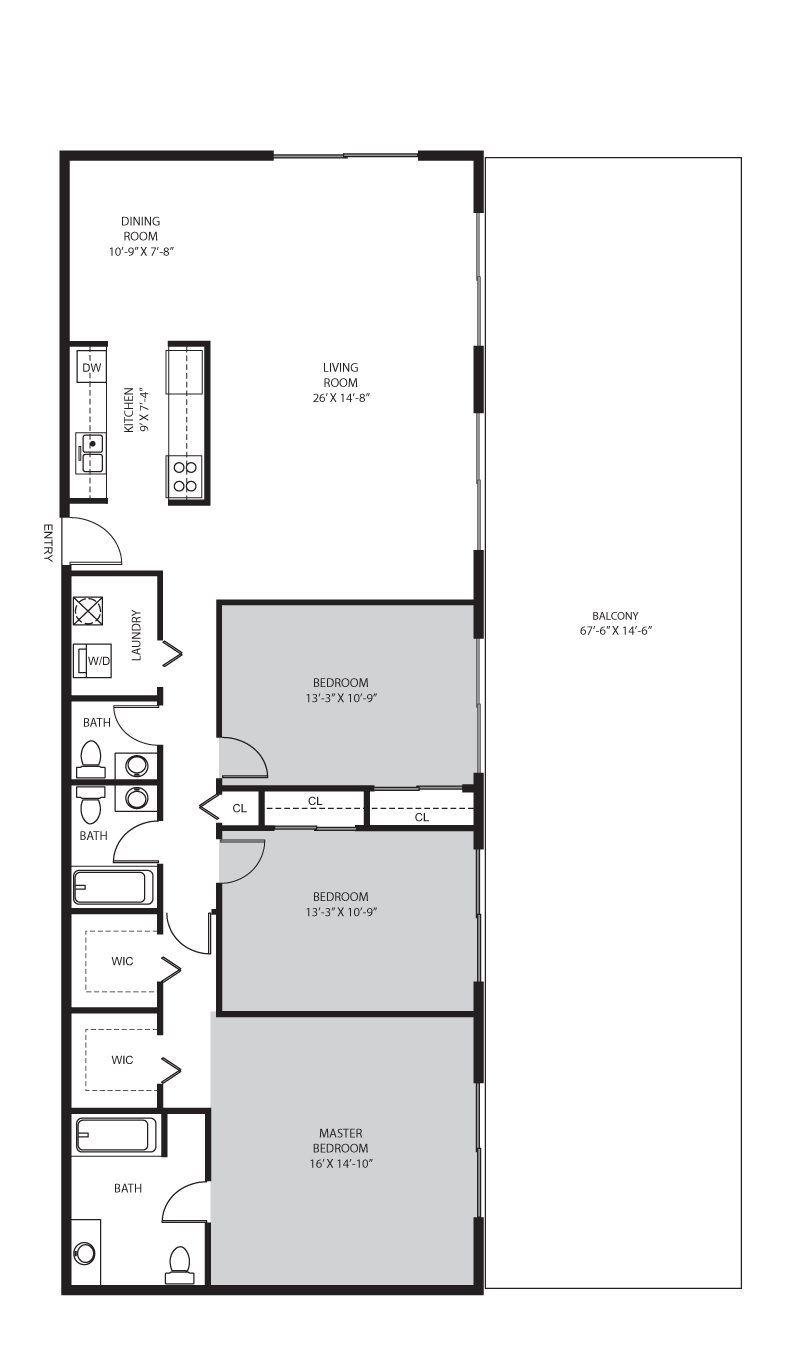 3 Bedroom / 2 Bath Floor Plan 8