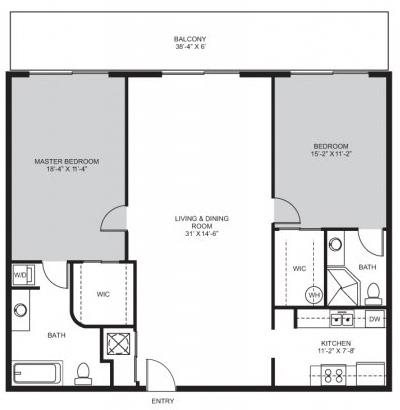 2 Bedroom / 2 Bath - B Floor Plan 3