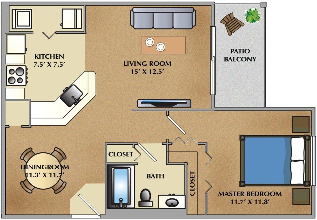1 Bedroom / 1 Bath Floor Plan 1