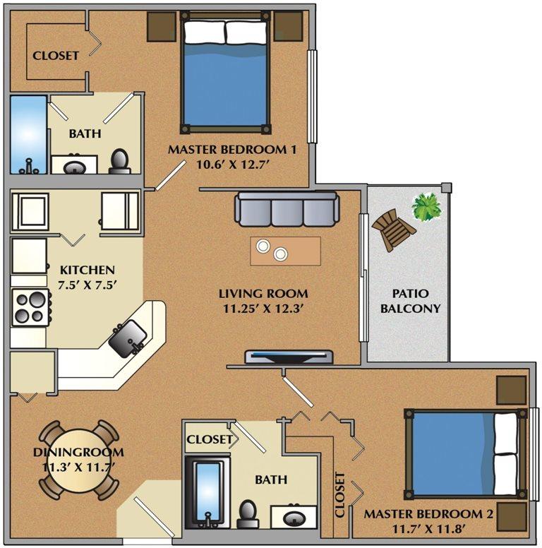 2 Bedroom / 2 Bath Floor Plan 2