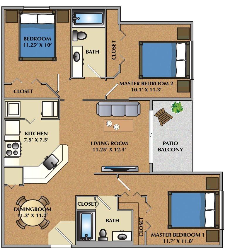 3 Bedroom / 2 Bath Floor Plan 3