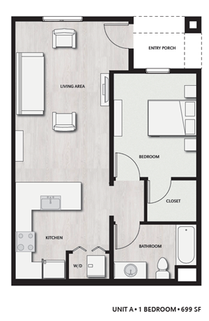 1 Bed 1 Bath UnitA Floor plan, at Del Oro on Broadway, 986 Broadway