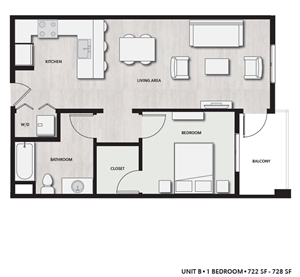 1 Bed 1 Bath UnitB Floor plan, at Del Oro on Broadway, Chula Vista, CA