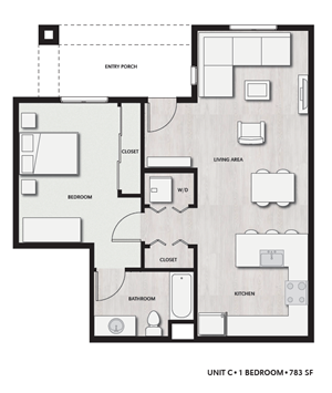 1 Bed 1 Bath UnitC Floor plan, at Del Oro on Broadway, Chula Vista, 91911