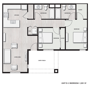 2 Bed 2 Bath UnitD Floor plan, at Del Oro on Broadway, CA, 91911