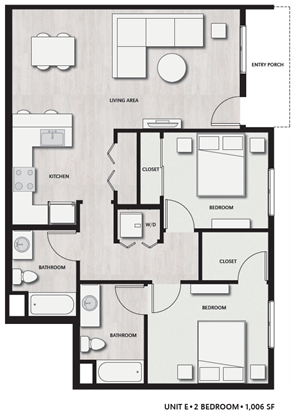 2 Bed 2 Bath UnitE Floor plan, at Del Oro on Broadway, Chula Vista, California