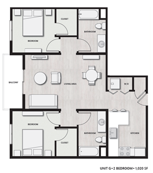 2 Bed 2 Bath UnitG Floor plan, at Del Oro on Broadway, 986 Broadway, CA
