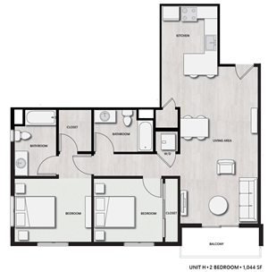 2 Bed 2 Bath UnitH Floor plan, at Del Oro on Broadway, 986 Broadway
