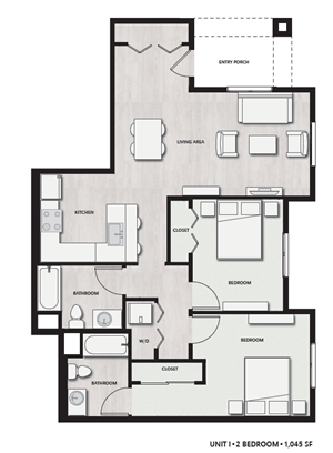 2 Bed 2 Bath UnitI Floor plan, at Del Oro on Broadway, Chula Vista, CA