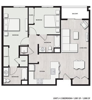 2 Bed 2 Bath UnitJ Floor plan, at Del Oro on Broadway, Chula Vista, 91911