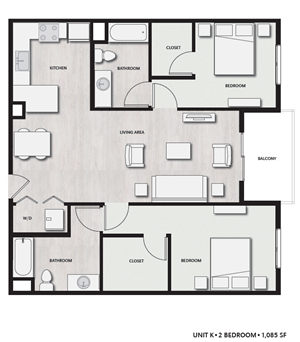 2 Bed 2 Bath UnitK Floor plan, at Del Oro on Broadway, CA, 91911