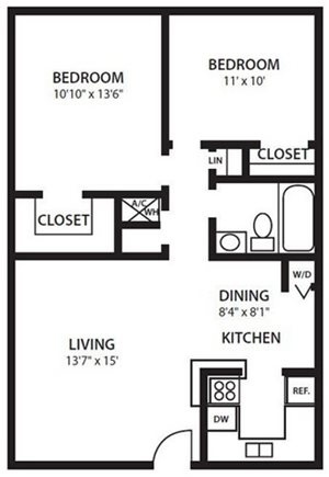 Twenty 35 Apartment Homes, Tampa, Safety Harbor FL 34695 B1 Floorplan at Twenty 35