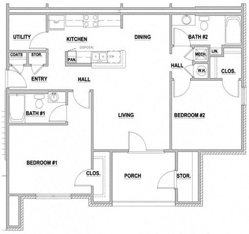 Arbors By The Bay Apartment Homes Daphne AL 36526 2 bedroom 2 bathroom Floor Plan