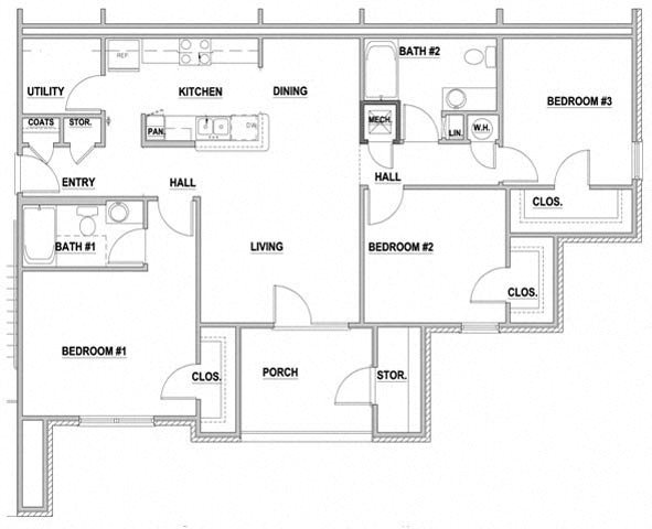 Arbors By The Bay Apartment Homes Daphne AL 36526  3 bedroom 2 bathroom Floor Plan