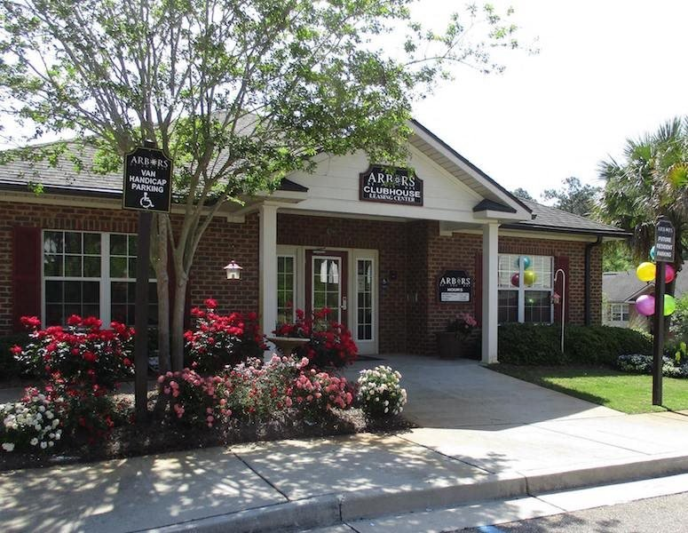 beautiful resident clubhouse with spring flowers