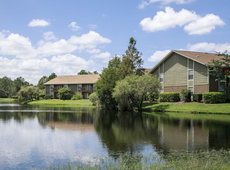 Lake with apartments beside the lake shore