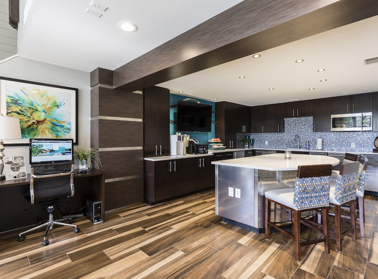 Community kitchen area in clubhouse with coffee station