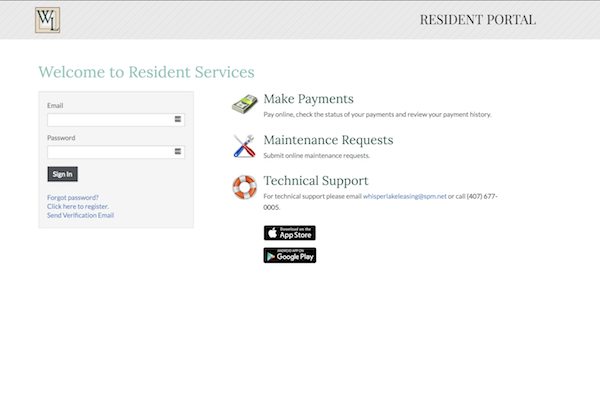 Whisper Lake apartments in winter park, orlando , florida  32792 online payment portal