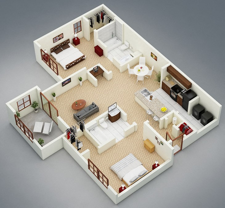 3-D The Willows 2x2 Sun Room Floor plan at Bridgewater Apartment Homes