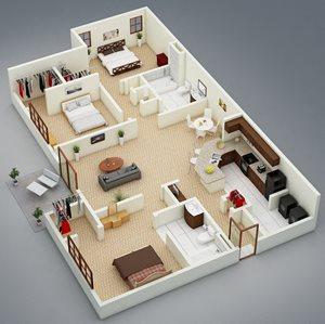 3 bedroom 2 bath Bridgewater Apartment Homes Huntsville, AL 35806