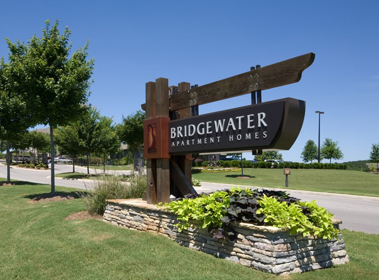 Bridgewater Apartments Entrance sign and green plants