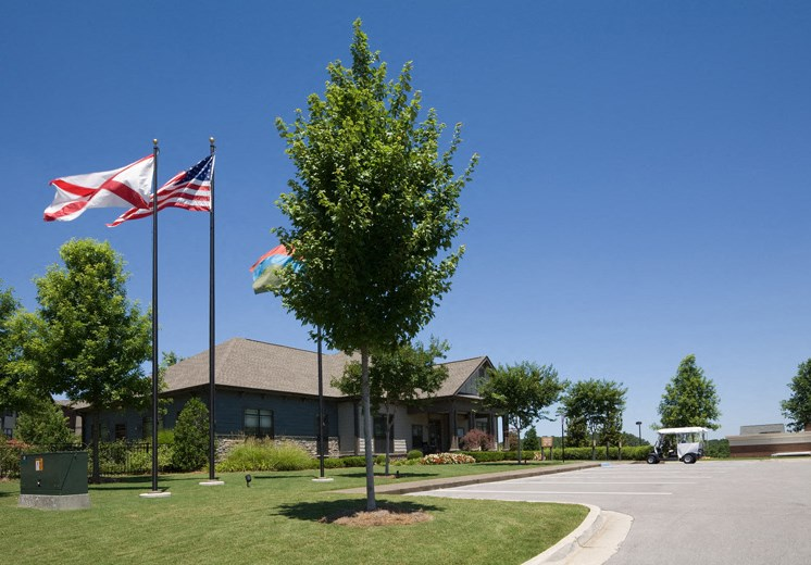 Bridgewater apartments in huntsville, al 35806 entrance with flags