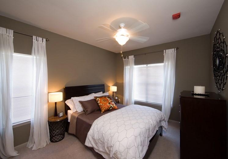 Bridgewater apartments in huntsville, al 35806 spacious bedroom with ceiling fan