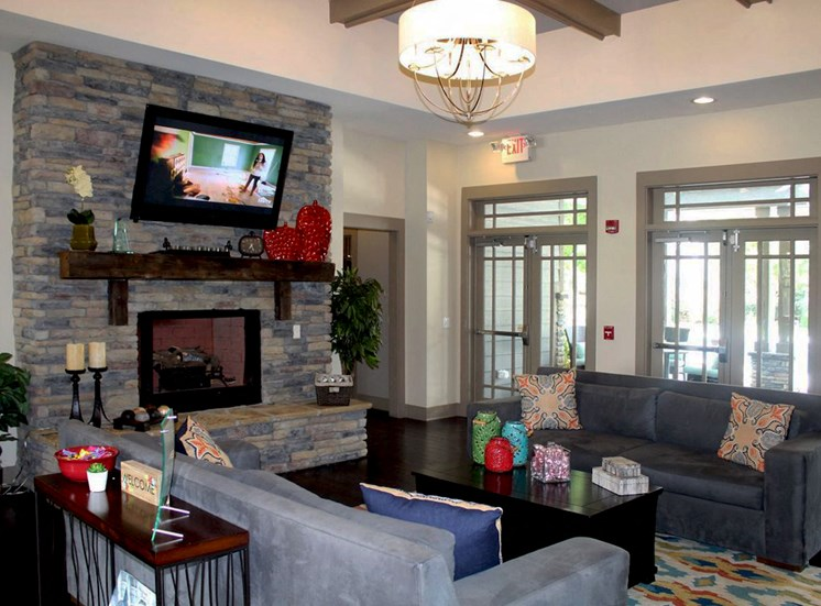 fireplace and seating in clubhouse at Bridgewater apartments