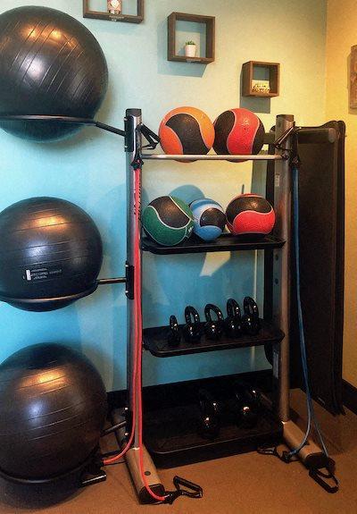 Yoga room equipment at Bridgewater Apartments in Huntsville