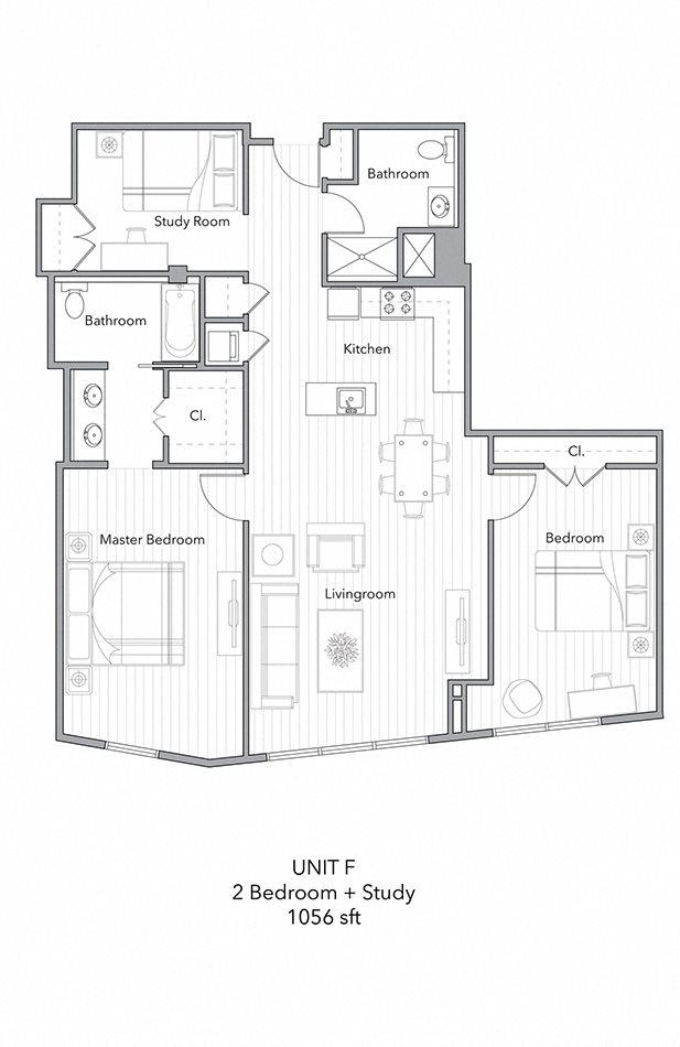 2 Bedroom+Study Floor Plan 5