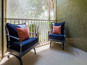 Screened patio/balcony at Legacy at Fort Clarke apartments in Gainesville, Florida 32606