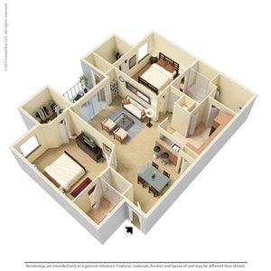 Preston Floorplan at Legacy at Fort Clarke apartments in Gainesville, Florida 32606