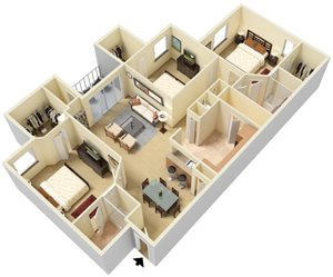St. Marks Floor Plan Legacy at Fort Clarke apartments in Gainesville, Florida 32606