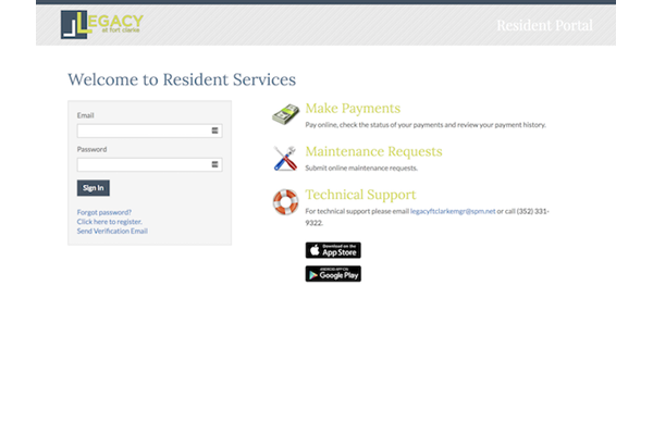Legacy at Fort Clarke apartments in Gainesville, Florida 32606 resident portal for payments and service