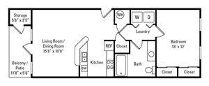 1 Bedroom, 1 Bath 692 sq. ft.
